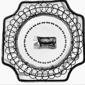 Vintage Farmhouse Cow Decorative Plate Metal Frame